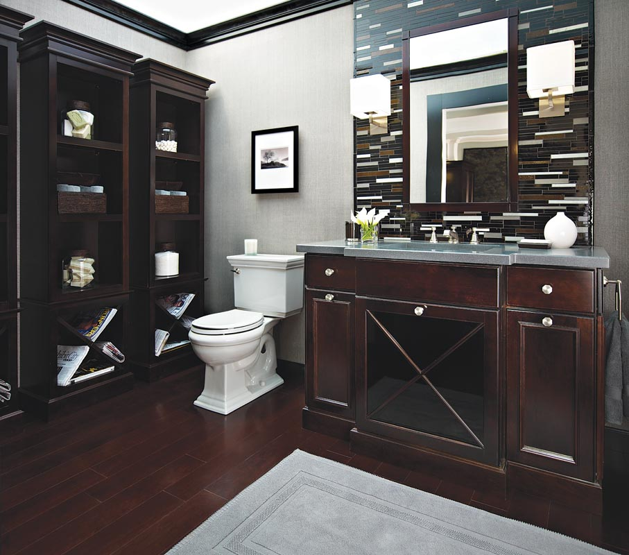 Handsome Cherry Wood Bathroom